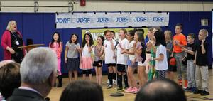 Jefferson School 4th graders sing for their teacher, Anna Carissimo, at the May 7 Board of Education meeting where she was honored as the the recipient of the 2019 Charles Philhower Fellowship Award.