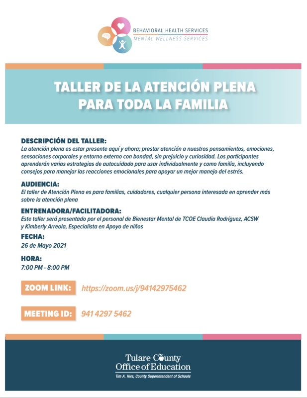 Flyer for Mindfulness for Children and Families workshop in Spanish