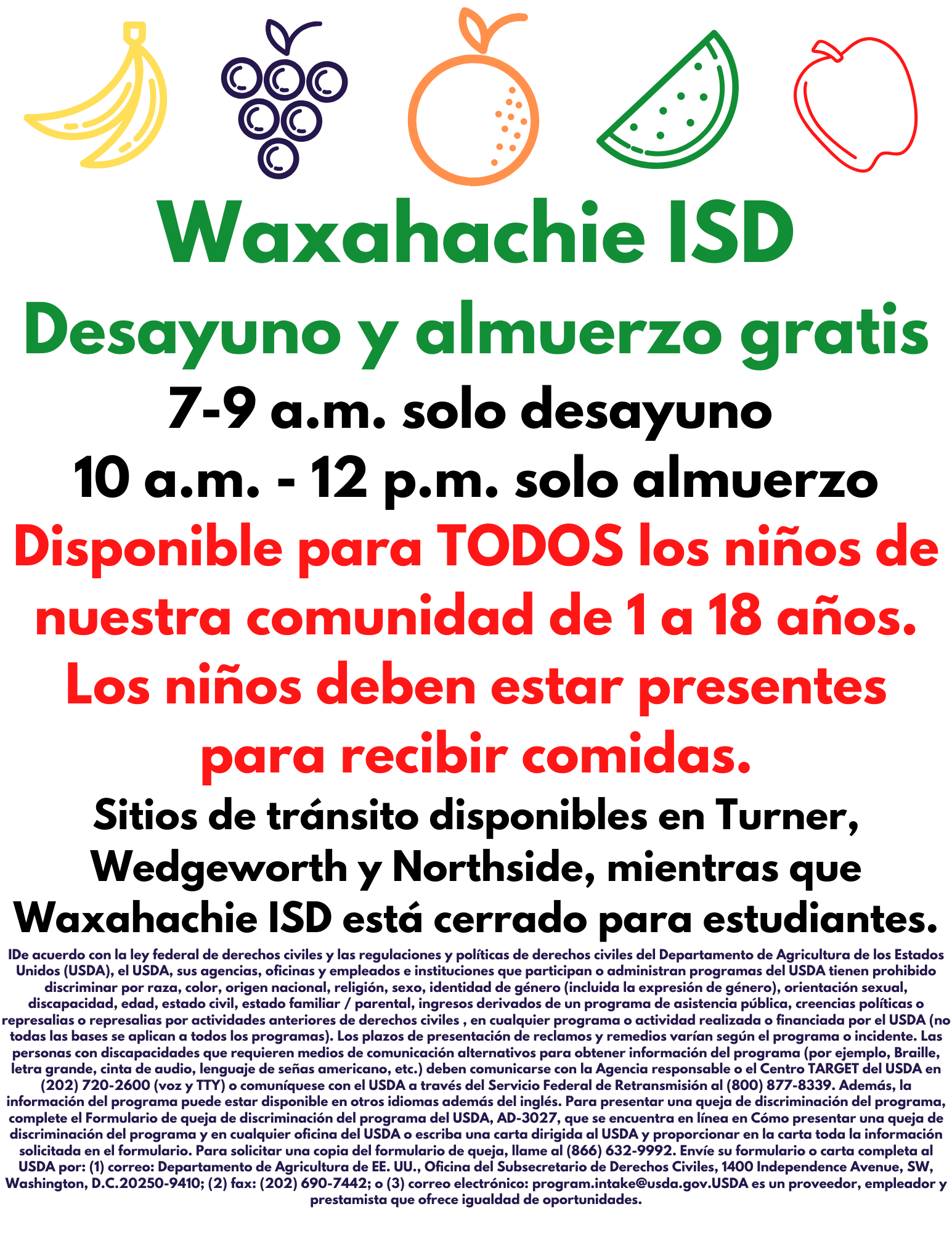 WISD offering free meals in spanish