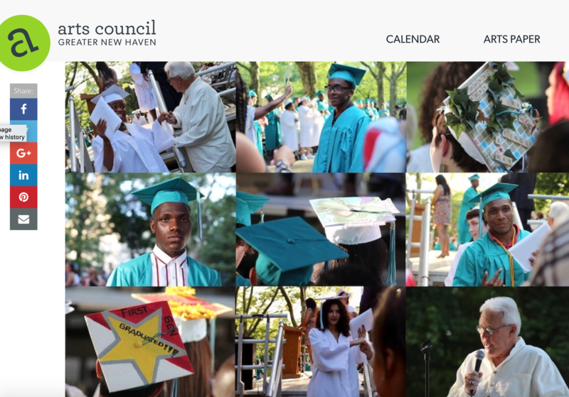 Image of HSC students and teachers celebrating at graduation