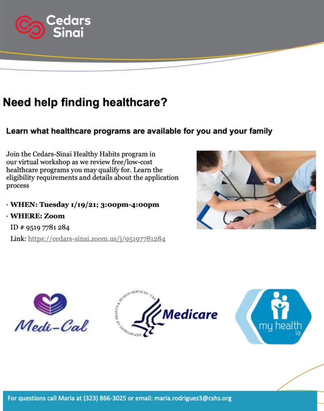Workshop:  Need help finding healthcare? • WHEN: Tuesday 1/19/21; 3:00pm-4:00pm • WHERE: Zoom Featured Photo
