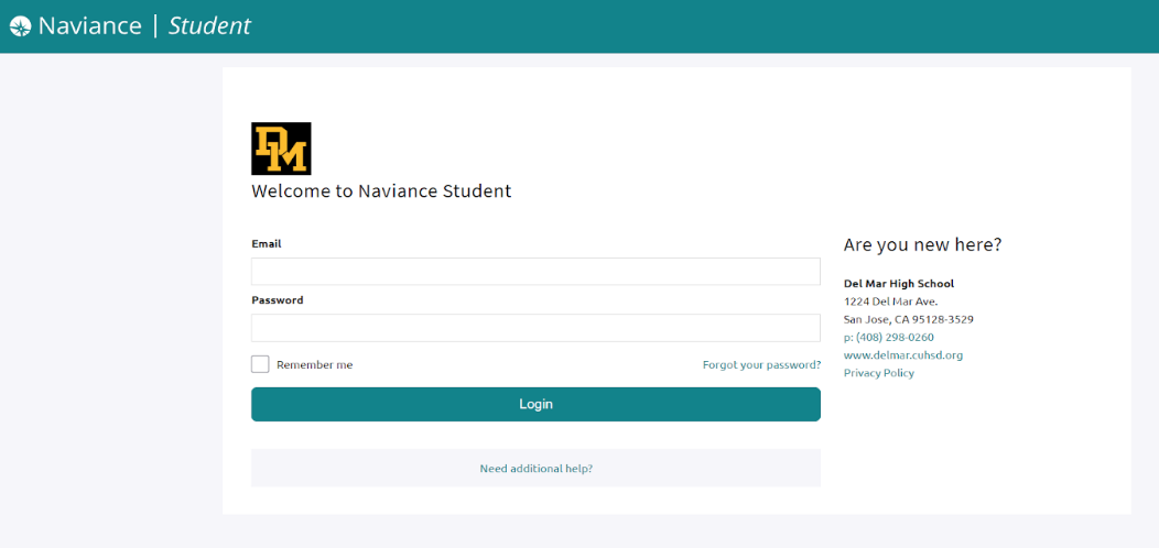 Image of Naviance student login screen