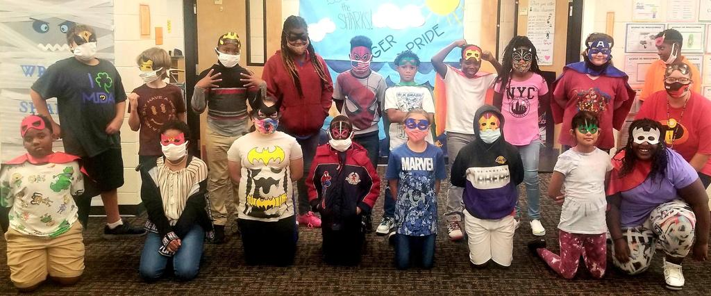 Picture of students dressed as super heroes
