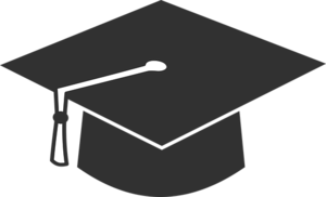 the image is of a black graduation hat with a white tassle