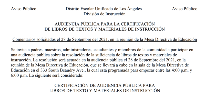 Textbooks and Instructional Materials Certification Public Hearing- September 28, 2021 Featured Photo