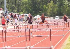 Photo of girls hurdles at Area