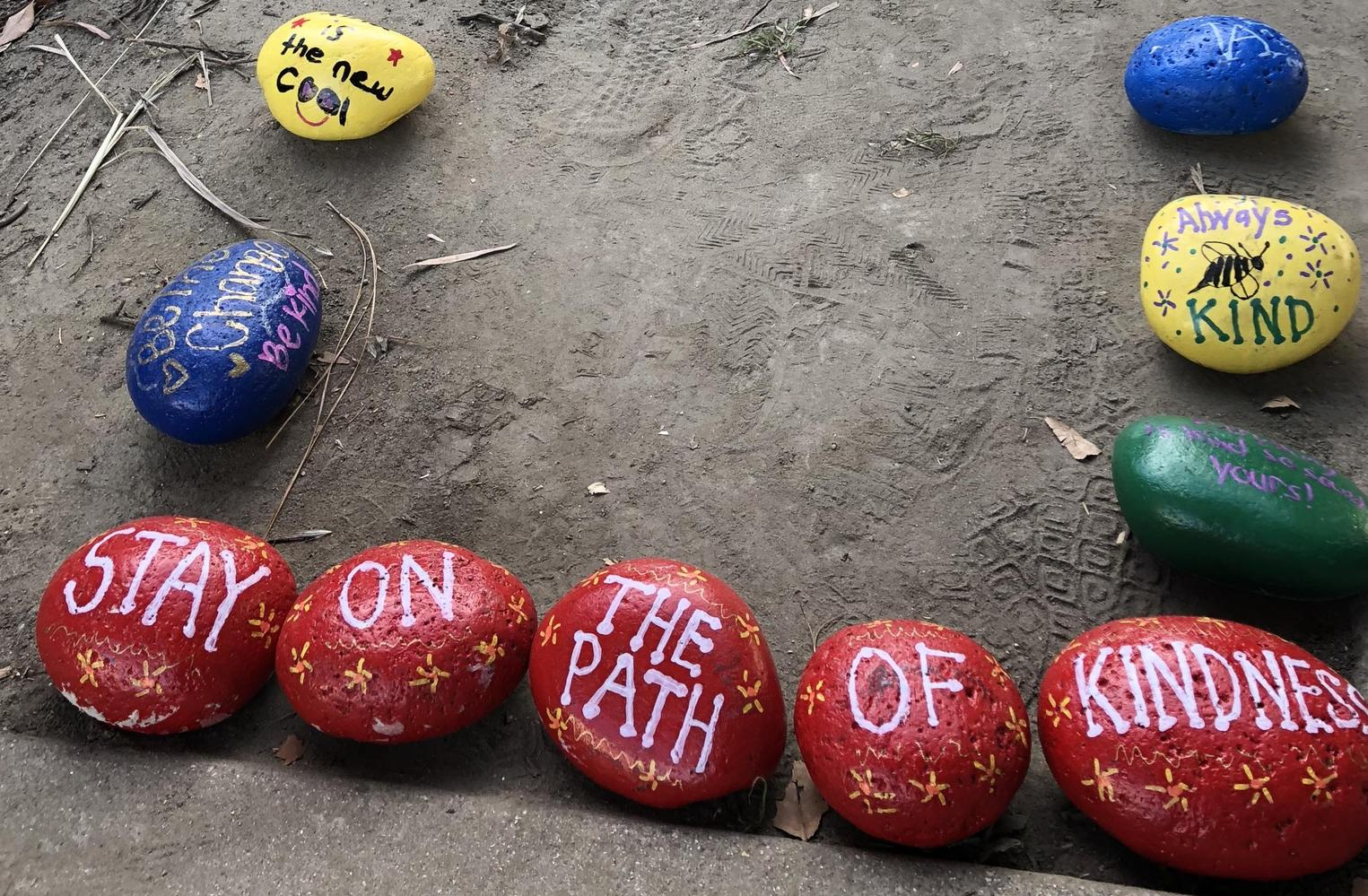 Elliott message on painted rocks