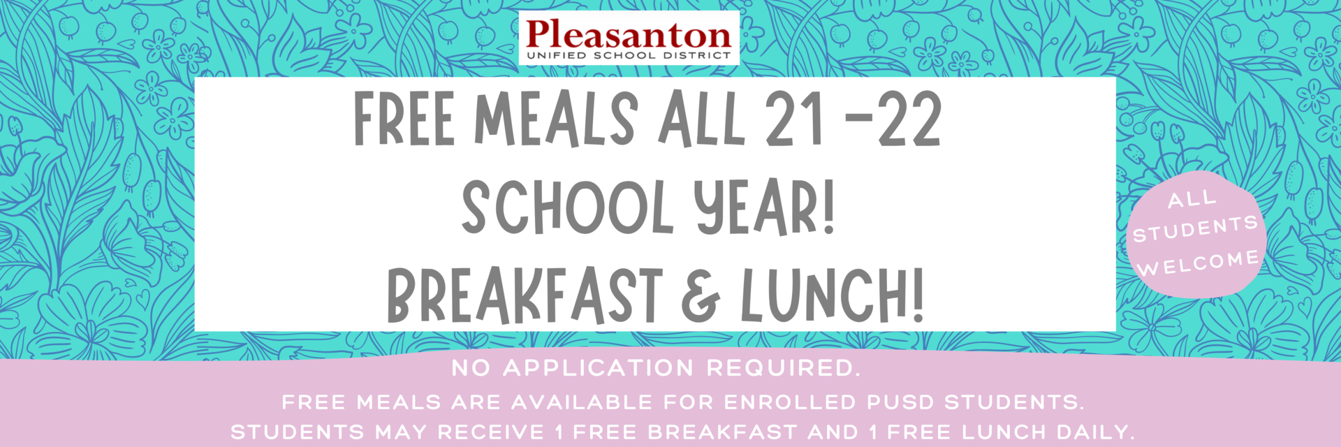 Free Meals for 2021 - 2022!