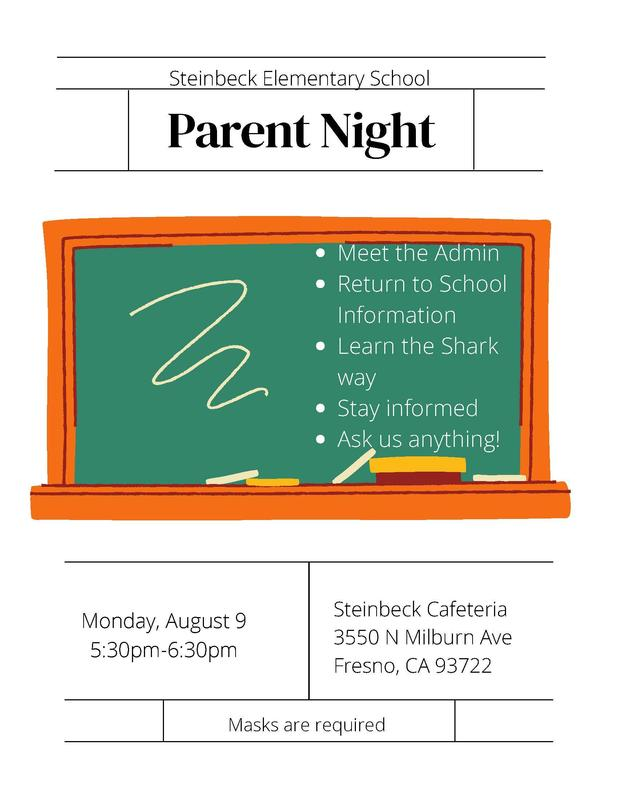 Parent Night on August 9 530-630 PM