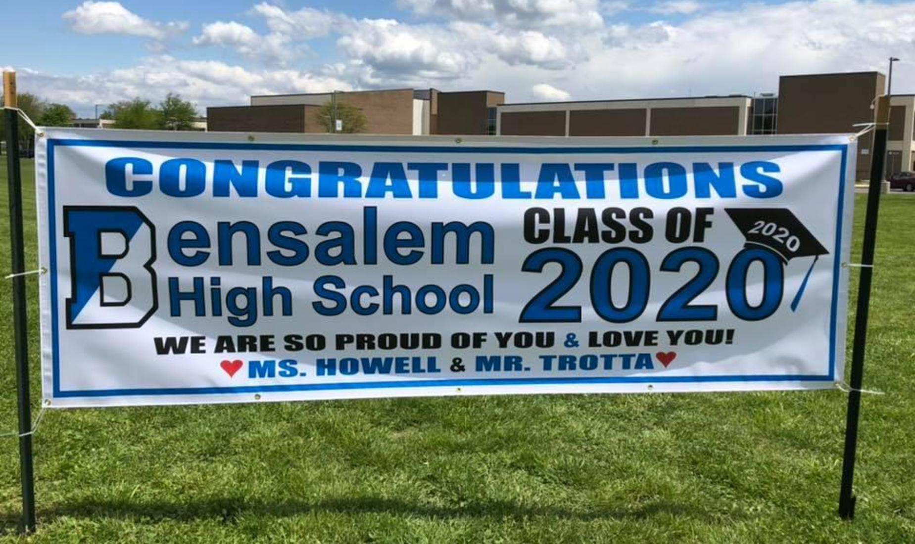 White banner with the Bensalem B logo and the words