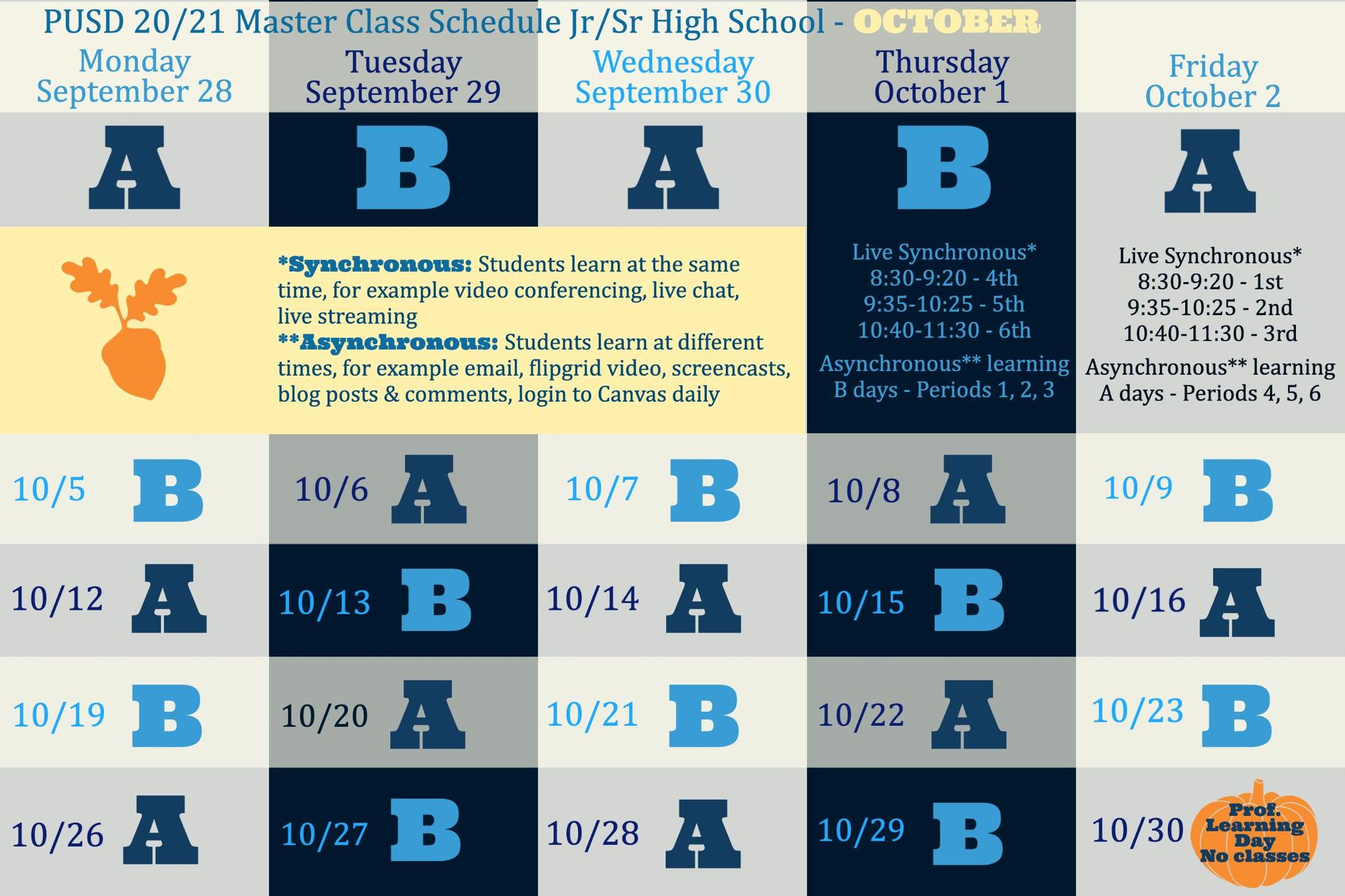 HS Master A/B Schedule October 2020