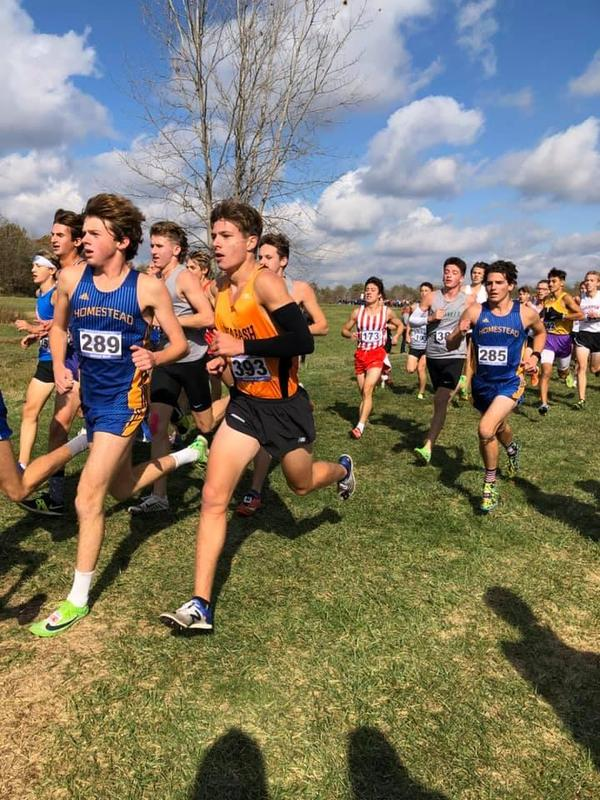 Dereck Vogel running at State Cross Country meet