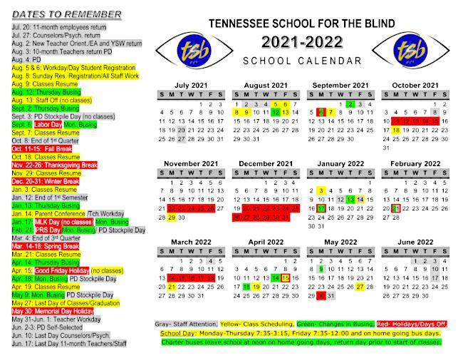 Image of the 2021-2022 school calendar.
