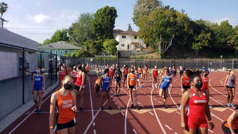 high schoolers at Pasadena Games Track Meet