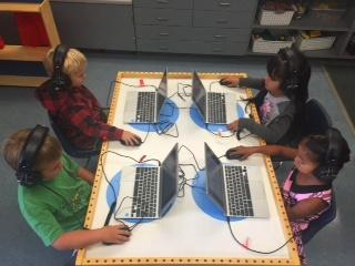 Kindergarten Students working at a computer station