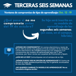 3rd Six Weeks commitment Graphic in Spanish