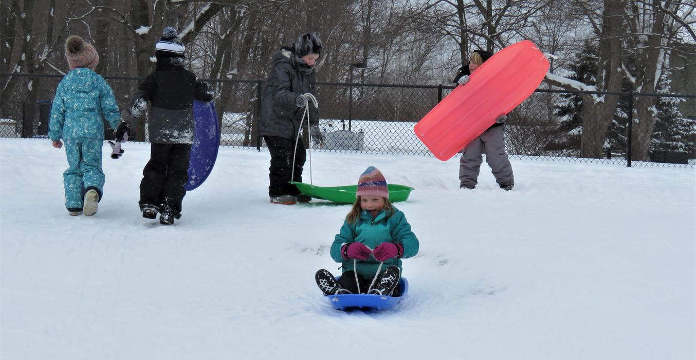 McFall students enjoy sledding a t recess.