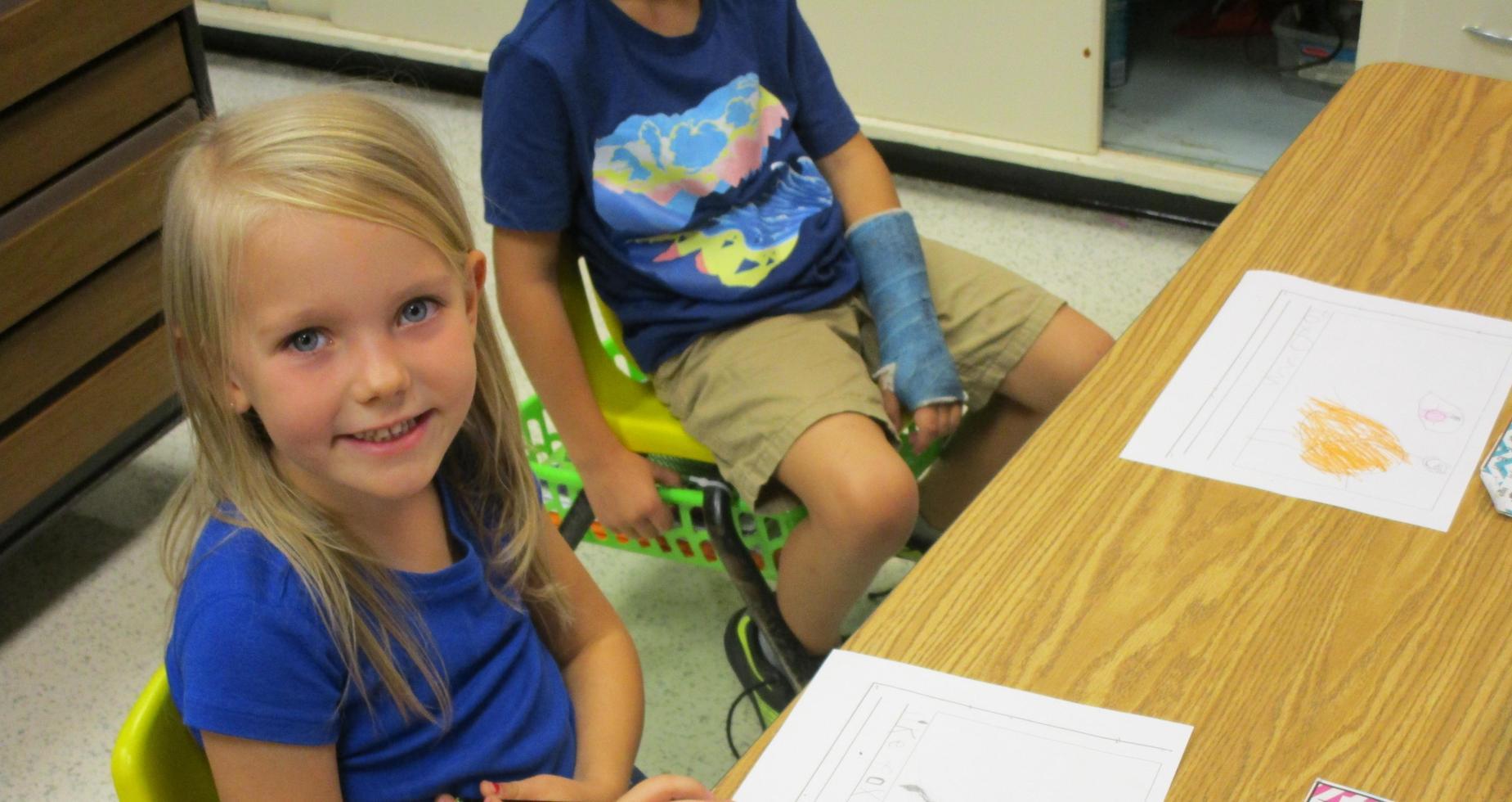 kindergarten student practicing writing