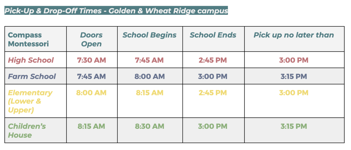 drop off and pick up times 2021-22