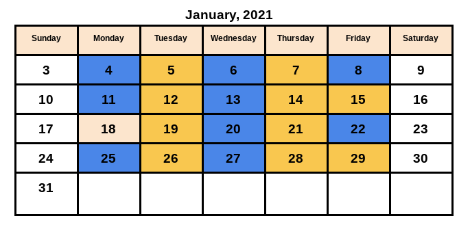 January Schedule Featured Photo