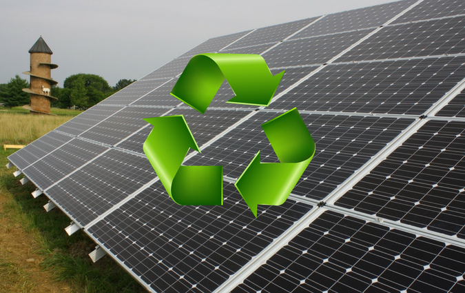 solar panels with a recycle arrow around them