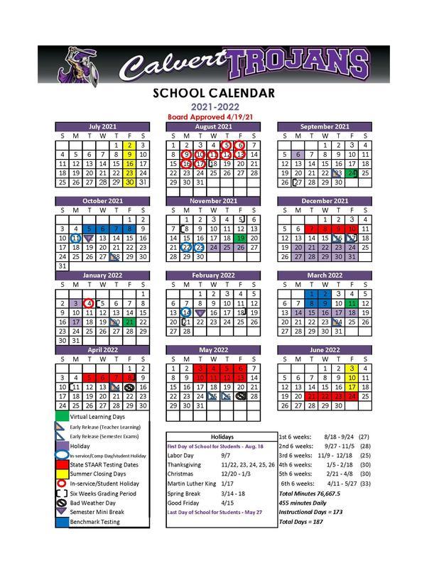 Calvert ISD 2021-2022 School Calendar Featured Photo