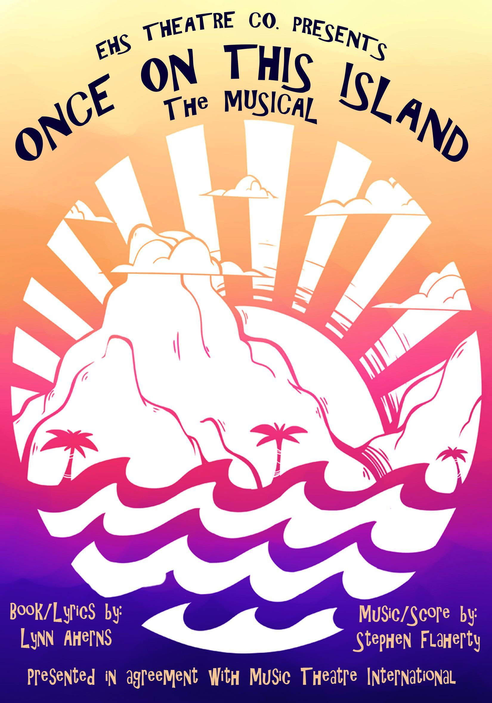 Program cover, sun and. island theme