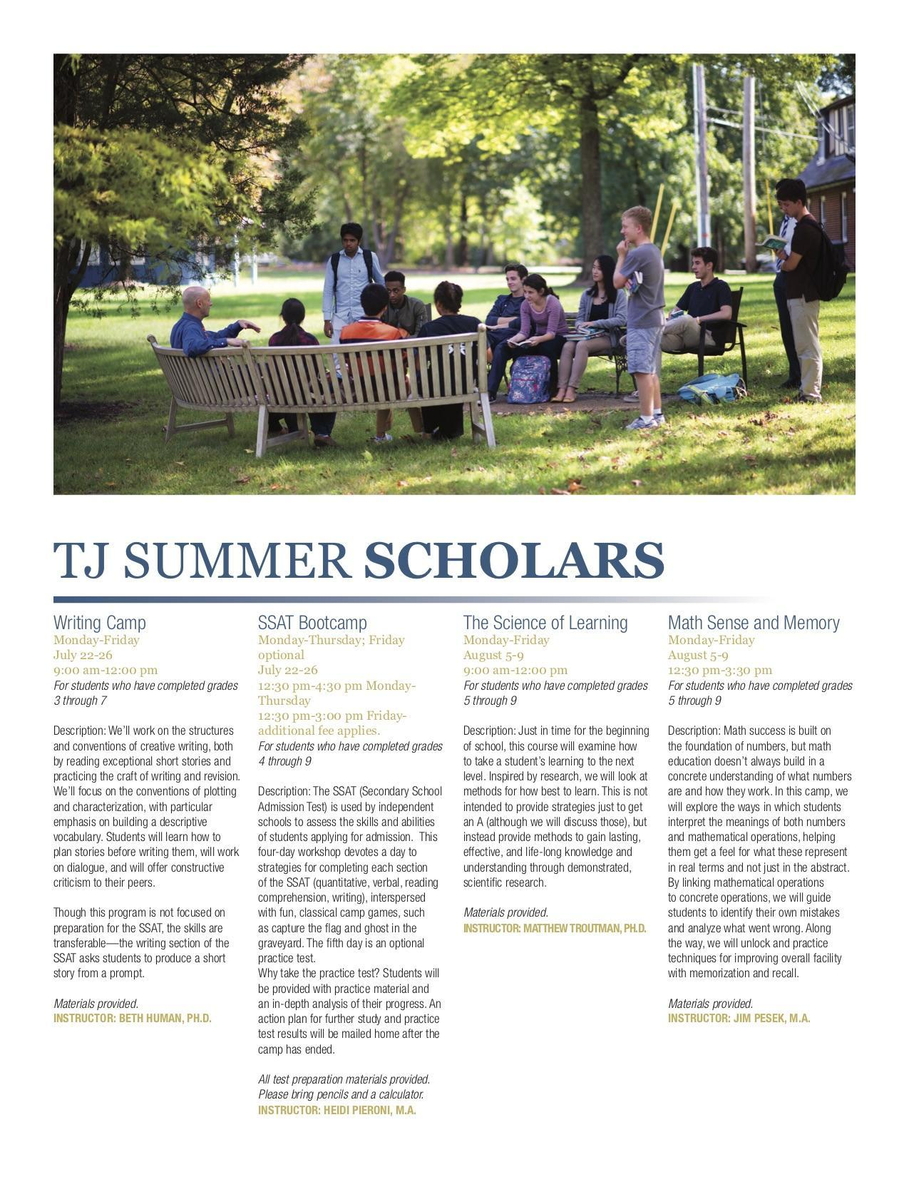 Learning - Summer Programs - Thomas Jefferson School