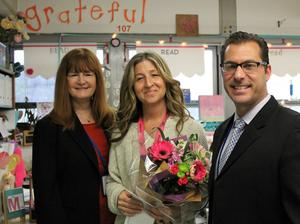 Mary Montes, a first grade teacher at Tamaques Elementary School in Westfield, is the 2018 recipient of the Westfield Rotary Club's Philhower Fellowship in recognition of outstanding teaching at the elementary school level, pictured here with Westfield Public Schools superintendent Dr. Margaret Dolan and Tamaques School principal David Duelks..