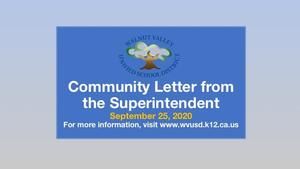 Community Letter from the Superintendent Featured Photo