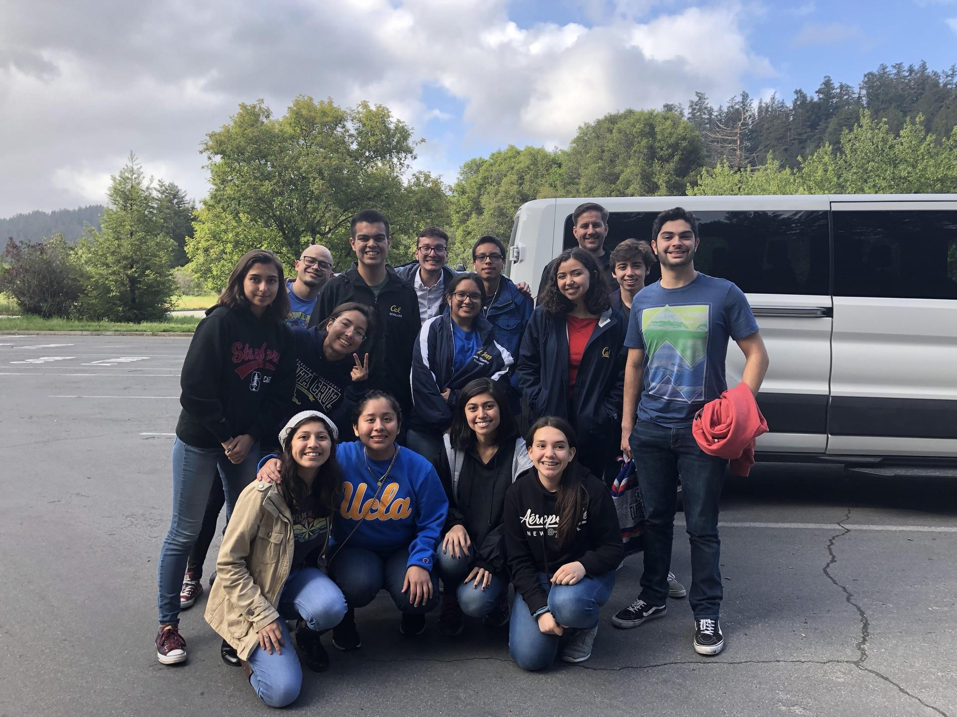 Cal High Model United Nations visiting the redwoods.