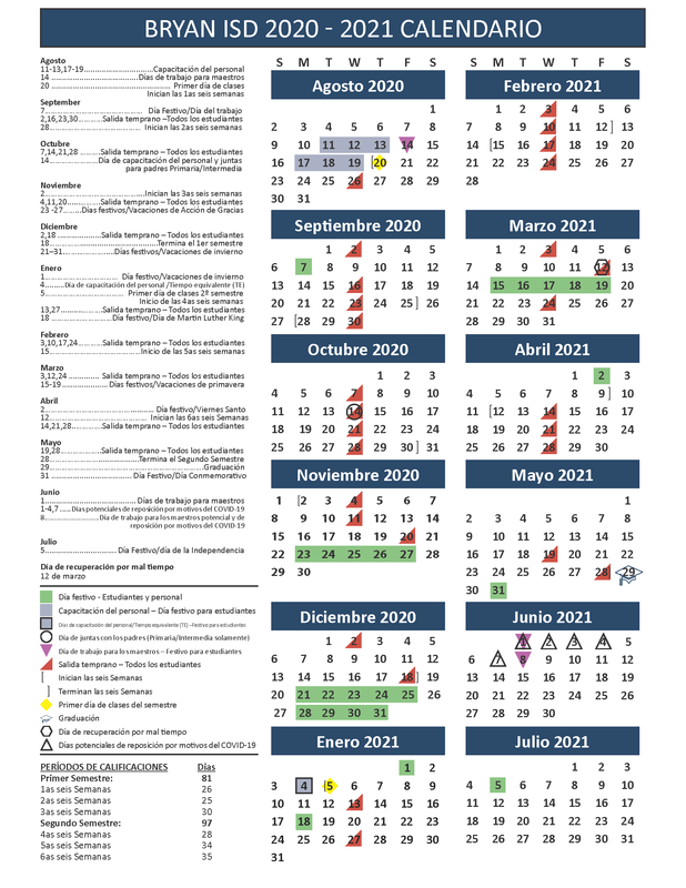 Academic Calendar in Spanish