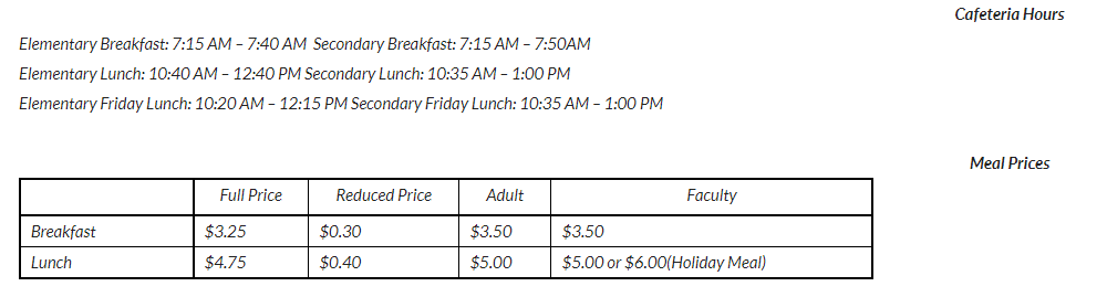 Cafeteria Hours & Prices