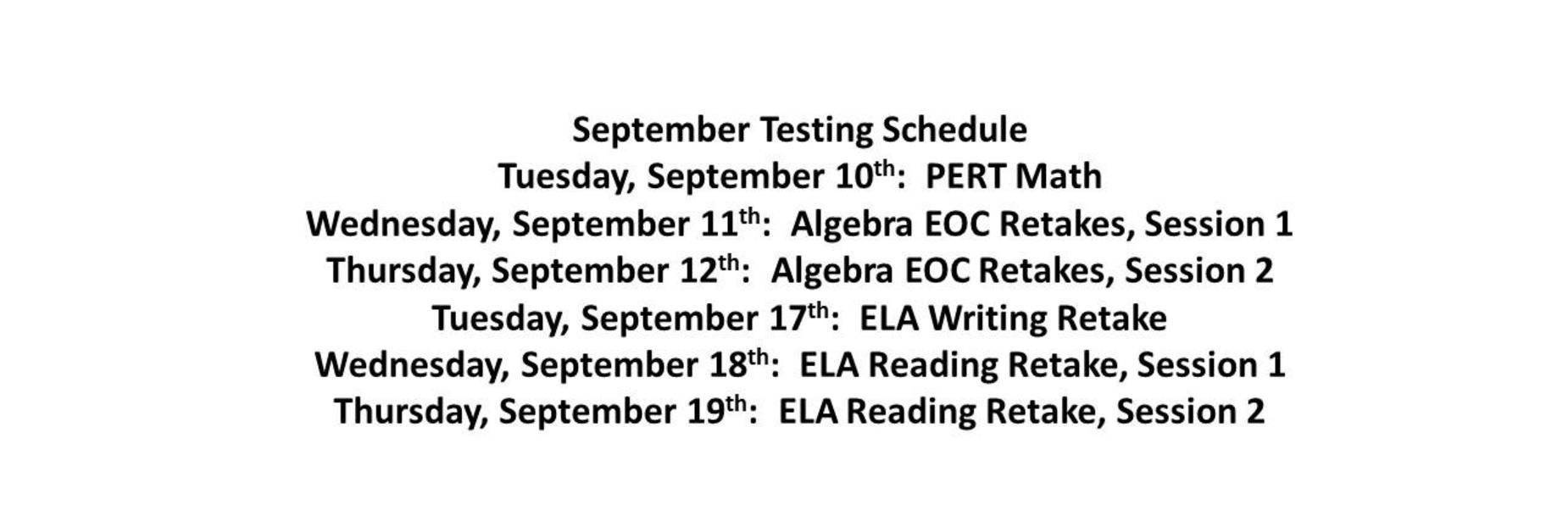September Testing Schedule