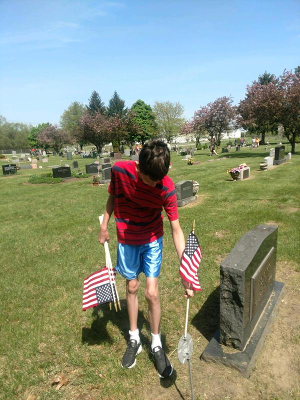 American flags were placed at the graves of veterans.