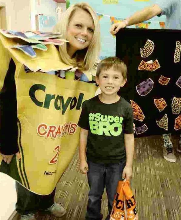 Mrs. Cronk dressed as crayon box at Fun Fest
