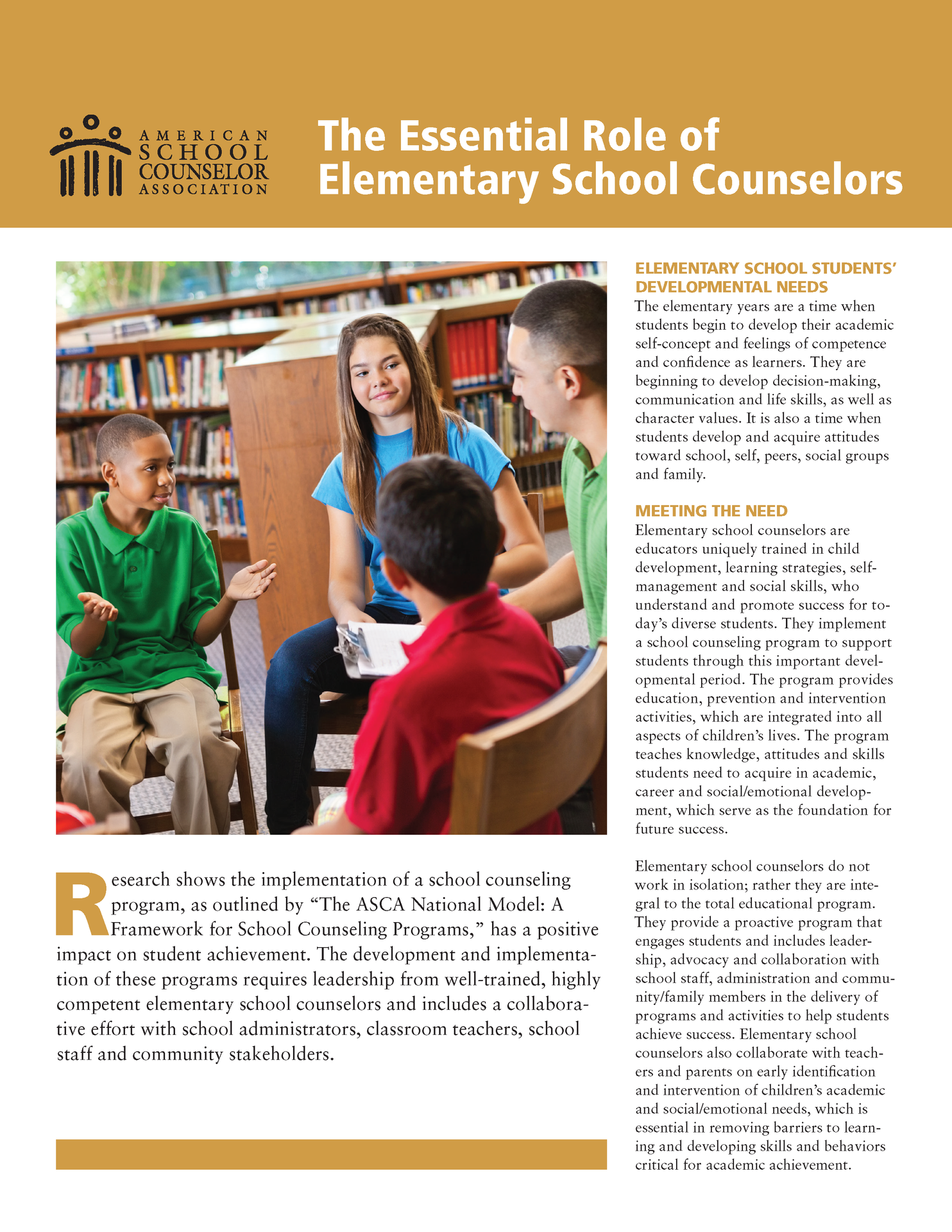 graphic explaining the role of elementary school counselors