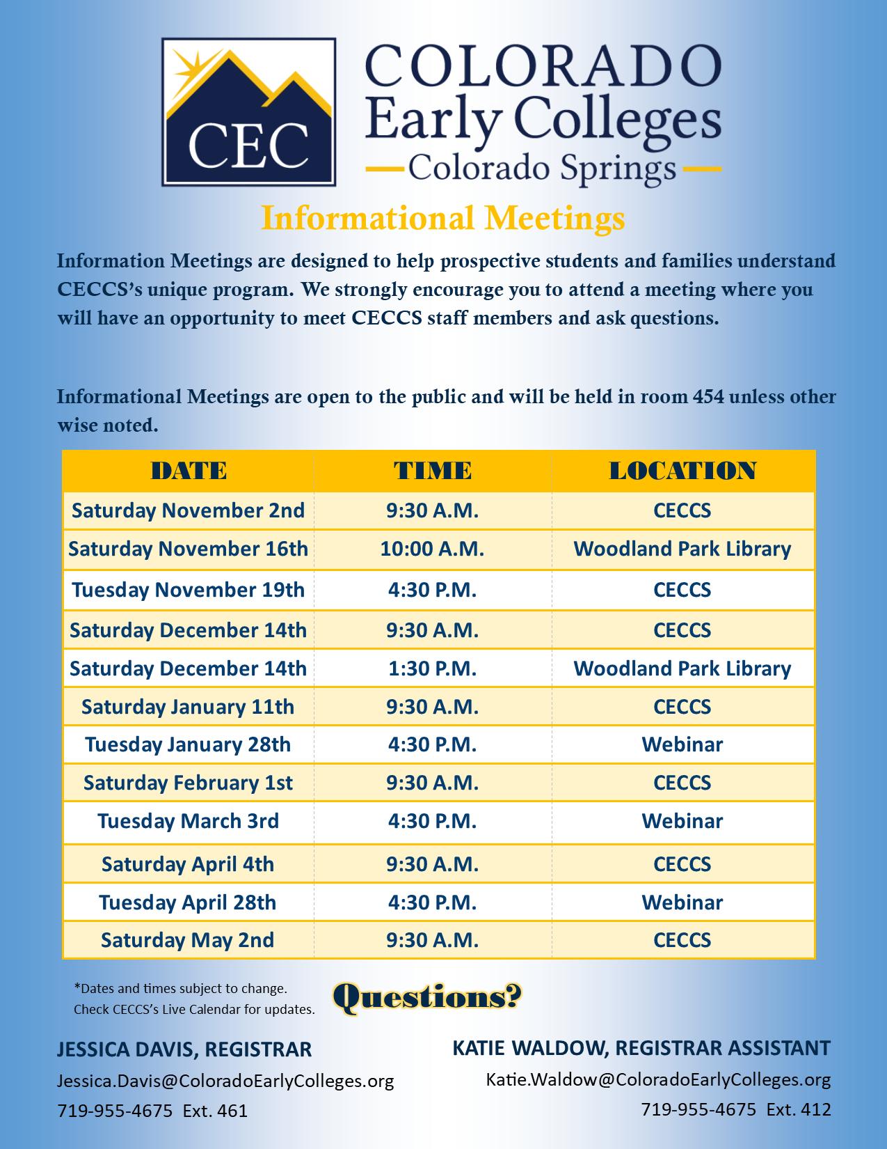 Information Meetings Schedule