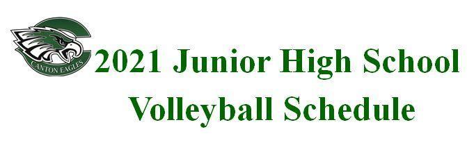2021 Junior High Volleyball Schedule