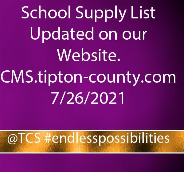School Supply List Updated 7/26/2021