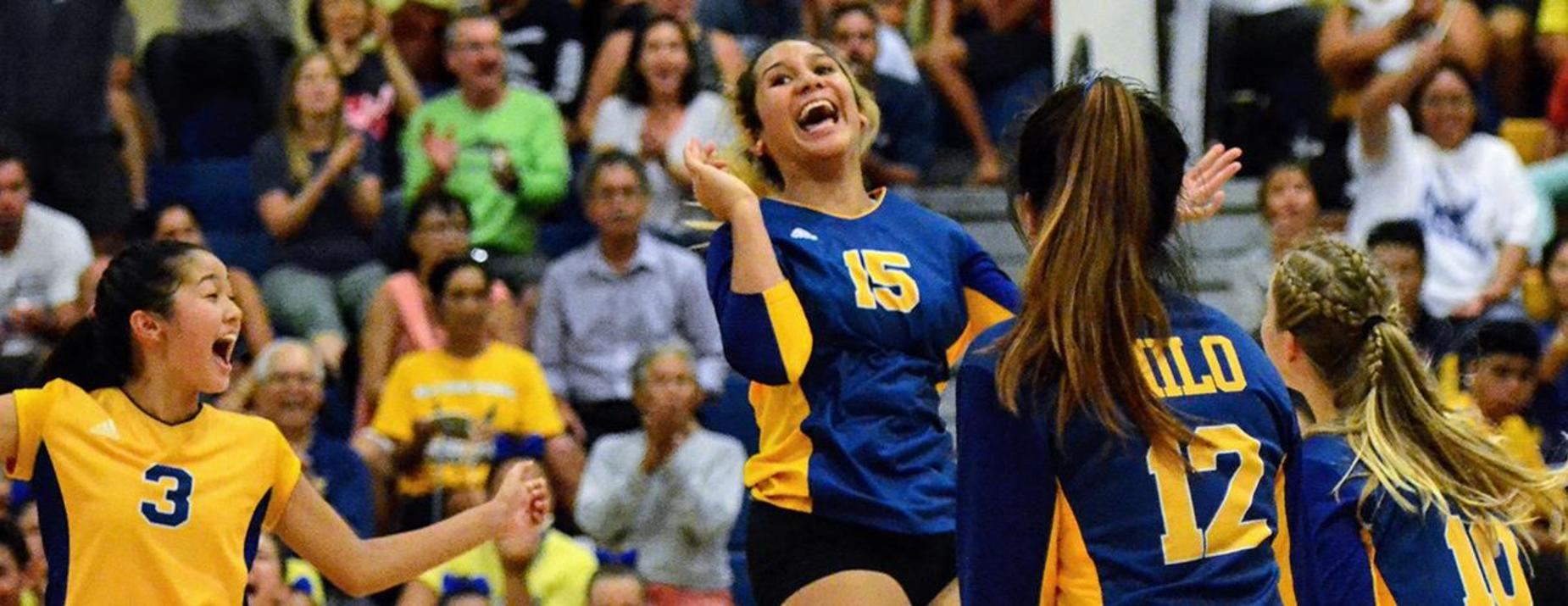 Hilo High Girl Volleyball players expresses the joy of winning a game!