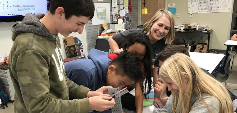 Pam Rissman with Students