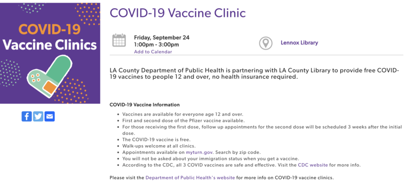 vaccine at lennox library