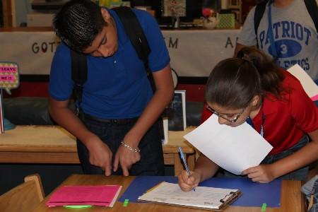 Students at Mission Junior High sign up for UIL events at the Library.