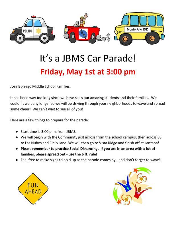 JBMS Car Parade Featured Photo