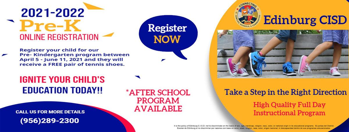 2021-2022 pre-k online registration.  register your child for our pre kinder program between April 5 - Jun 11, 2021 and they will receive a free pair of tennis Shoes.   Ignite your child's education today!!.  After school program available. Take a step in the right direction.  high quality full day instructional program.  call us for more details at 9562892300