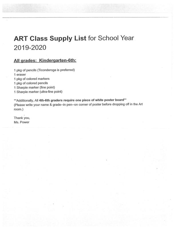 Art Supply List for ALL students