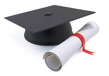 Image of a graduation cap and rolled diploma.