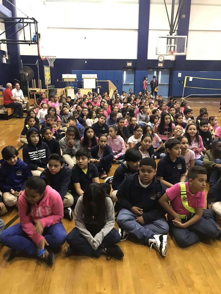 grades 3-5 gathered for the cancer awareness writing awards