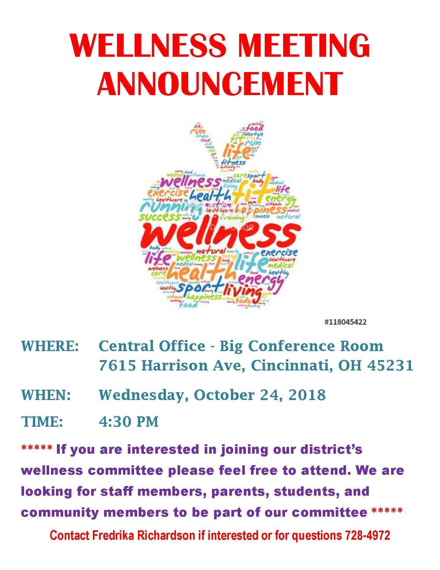 October 24, 2018 Wellness Meeting